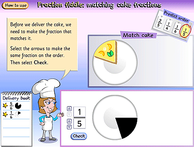 A slice of cake represented as one fifth matched to the correct fraction.