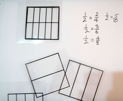 Selection of grid transparencies with one pair overlaid and equivalent fractions recorded.