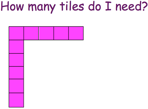 How many tiles do I need? A partial 6 by 5 array showing only the far left column and top row.