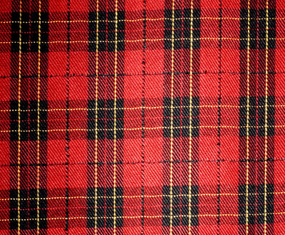 A typical Scottish tartan, making squares and rectangles of various colours.