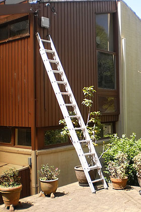 A ladder leaning against the outside wall of a house.