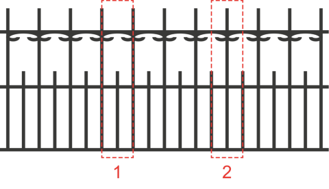 A drawing of a fence showing two groupings of uprights railings, each of which is a repeating pattern.