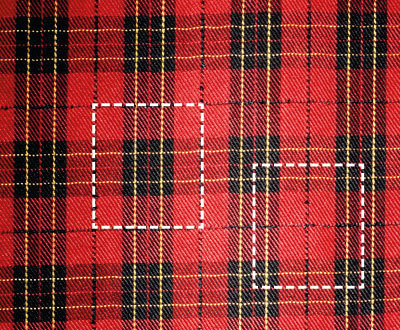 A tartan showing two possible units of repeat.