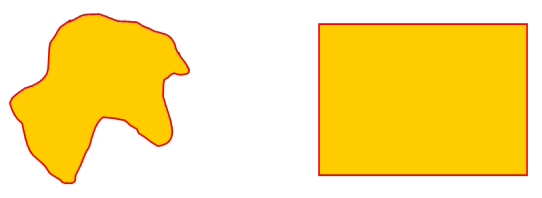 Two closed shapes: on the left, a random curved scribble; on the right, a rectangle.