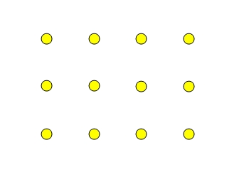 Twelve yellow dots arranged in a three by four pattern.
