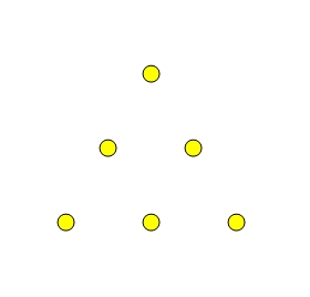 Six dots arranged in a triangular pattern with three dots on each side.