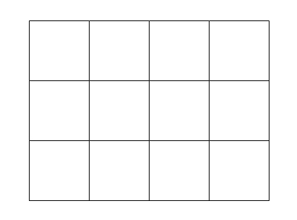 A blank rectangular grid of twelve equally sized squares arranged in a three by four pattern.
