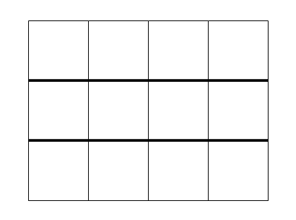 A blank rectangular three by four grid, emphasising the three rows.