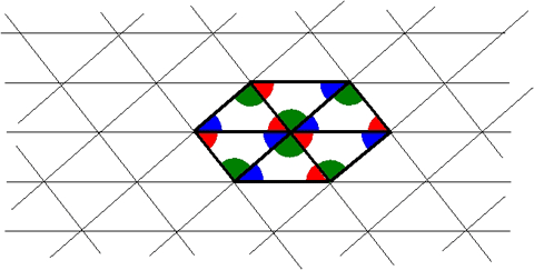 The original grid of lines, with six triangles around a point highlighted.