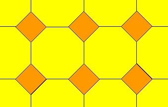 a tessellation formed by fitting regular octagons together with squares fitted in the gaps