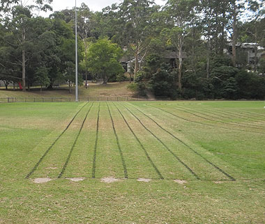A photo of a 100 metre running track in a park.