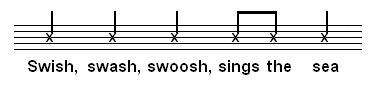 Notes on a music stave, indicating a rhythmic pattern matched to the words 'Swish, swash, swoosh, sings the sea'.