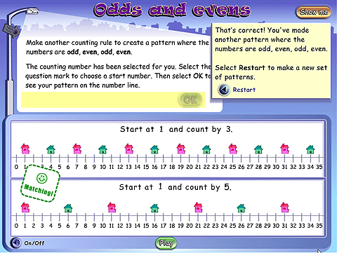 Two number lines with all numbers marked. On the first, there are highlights at 1 and then every third number. On the second, there are highlights at 1 and then every fifth number.