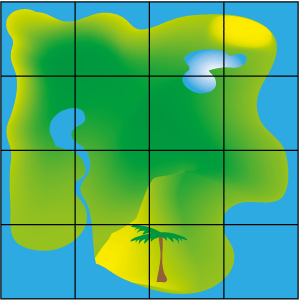 A map of a treasure island divided up into a 4 by 4 grid.