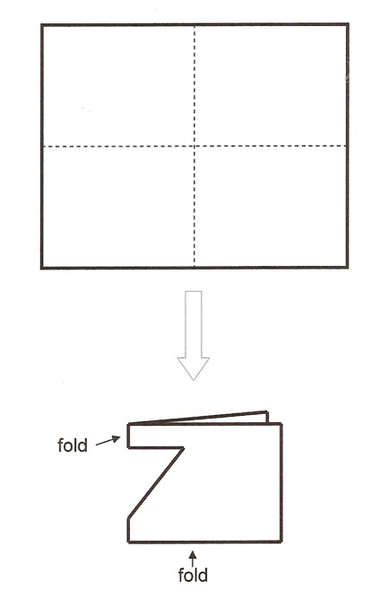 Lines on a rectangle showing that it is to be folded in half and half again, to make a smaller rectangle. Then a triangular notch is cut out of one of the folded edges.