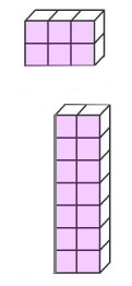 A block of 2 by 3 (6) cubes and a block of 7 by 2 (14) cubes.
