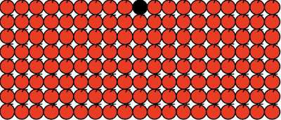 8 rows of 19 red apples in lines with the 10th apple in the first row coloured black