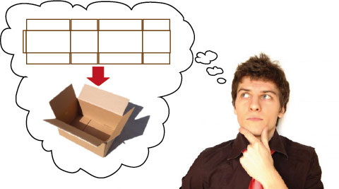 A person visualising a net of a box and the completed cardboard box.